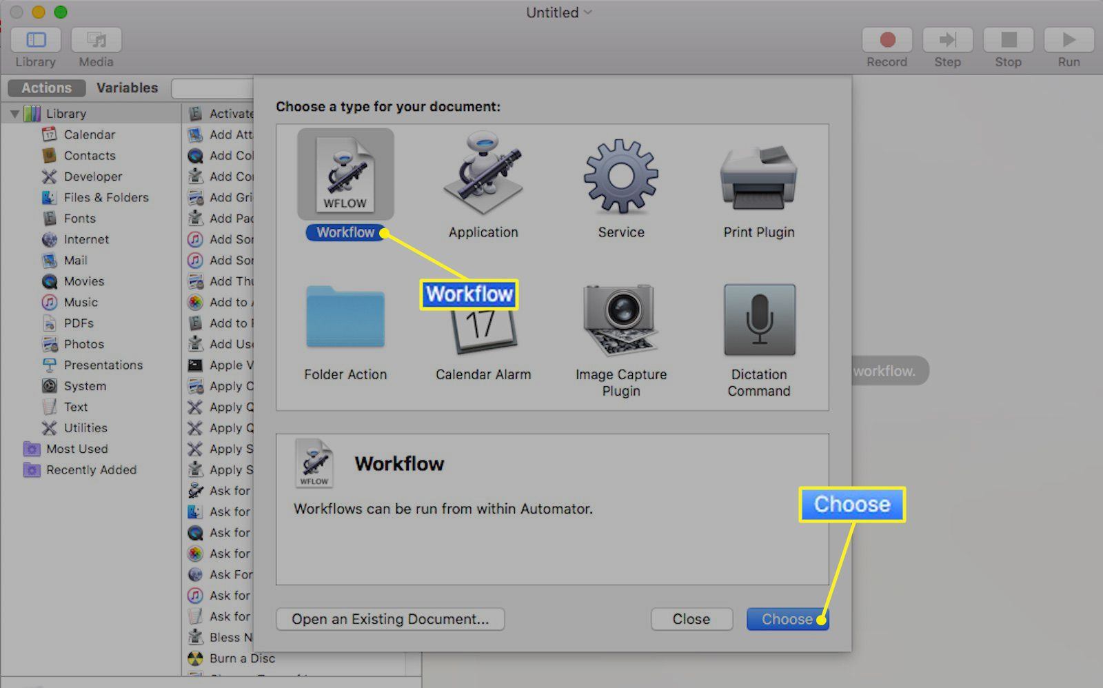 Automator application for Mac with Workflow selected