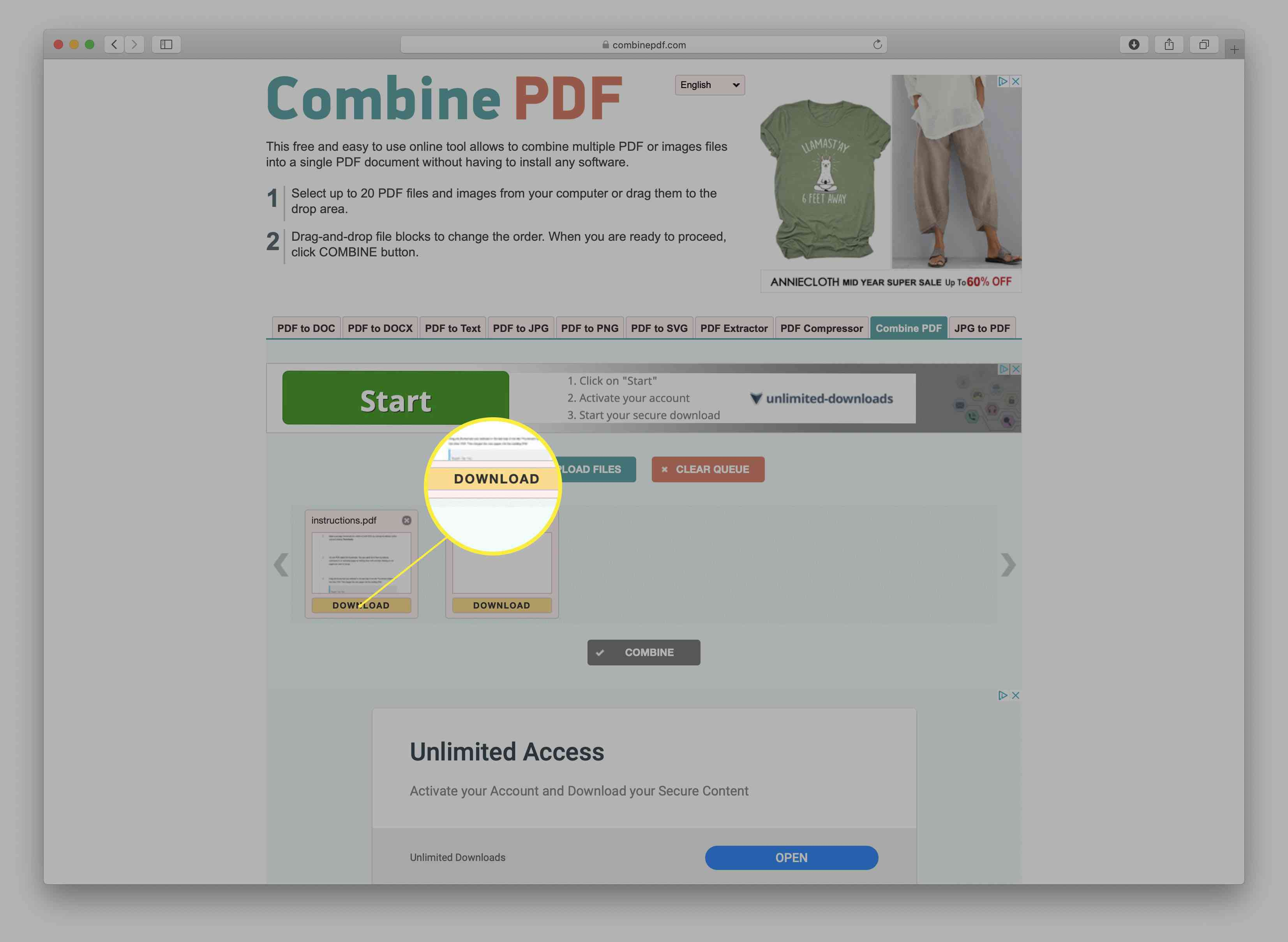 A screenshot of the merged PDFs are ready to download on the CombinePDF site.