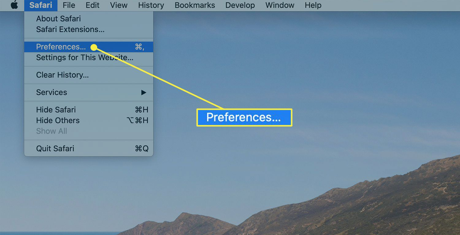 A screenshot of Safari with the Preferences menu item highlighted