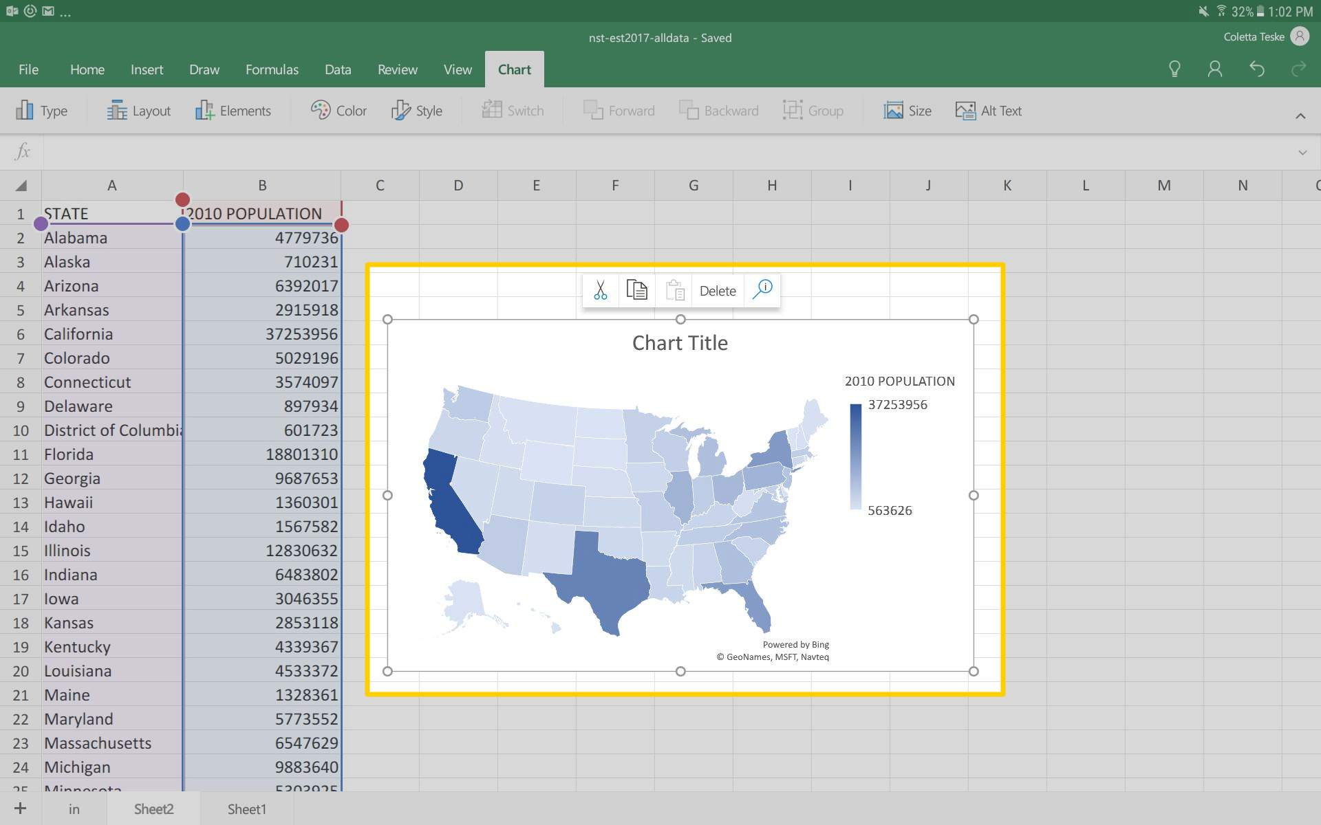A screenshot showing the map created from data in an Excel for Android spreadsheet