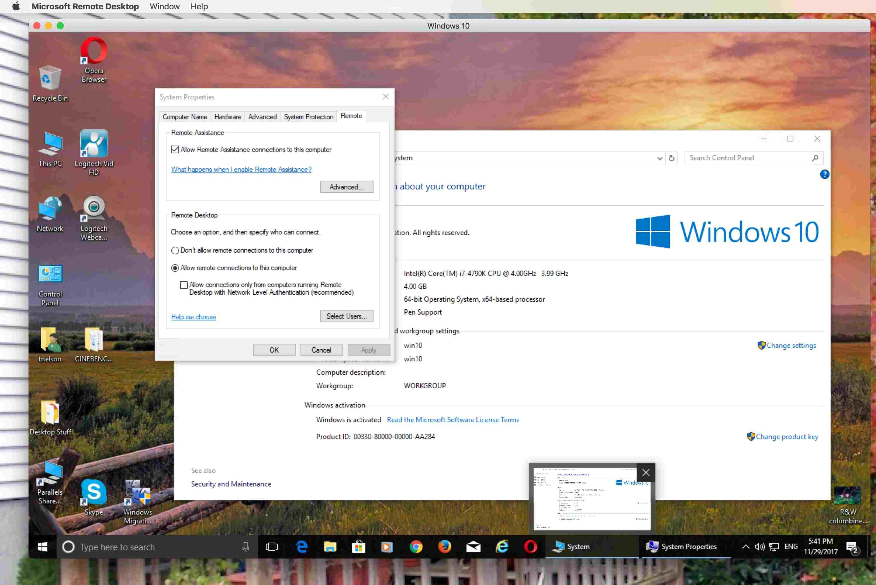 Microsoft Remote Desktop App.
