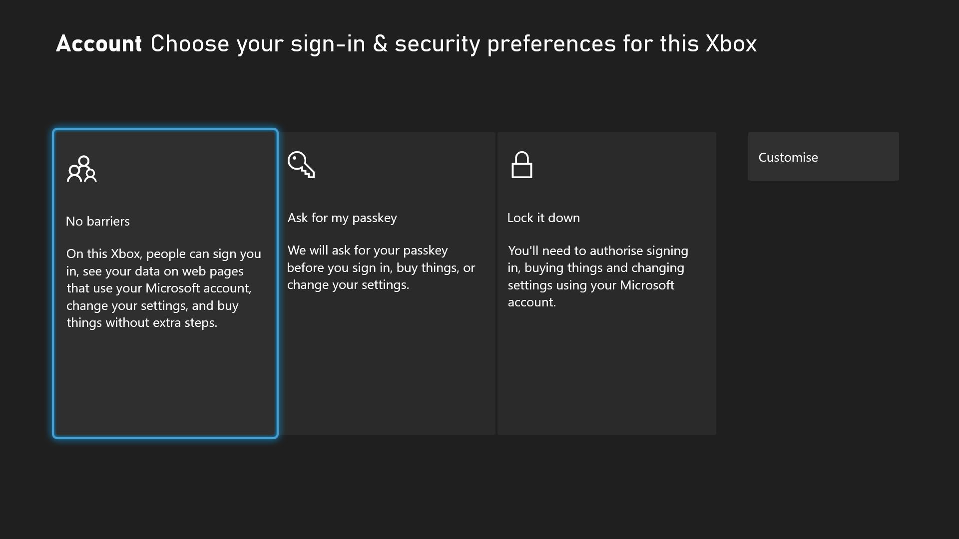 Xbox Series X Family Settings with Ask For my passkey highlighted