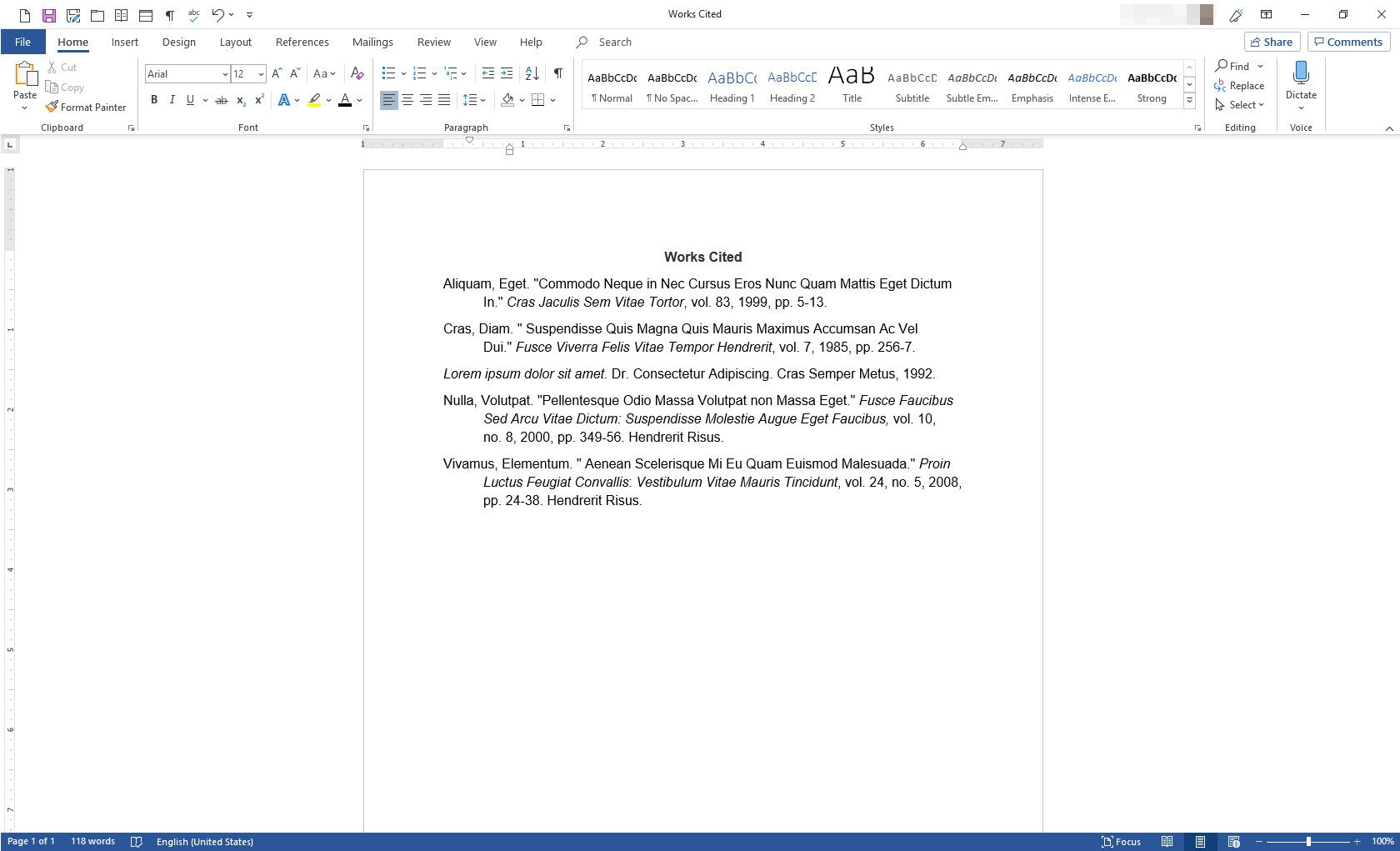 MS Word with Works Cited document using hanging indentation