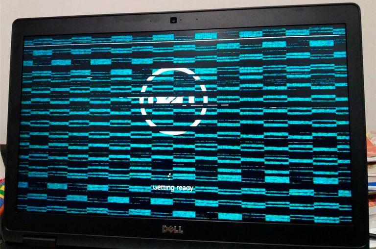 Scrambled laptop screen.