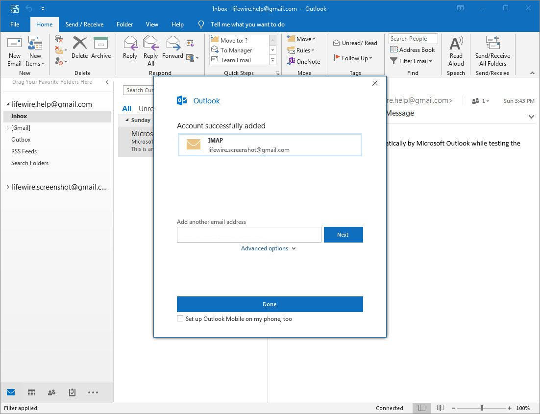 Outlook 2016 account successfully added screen