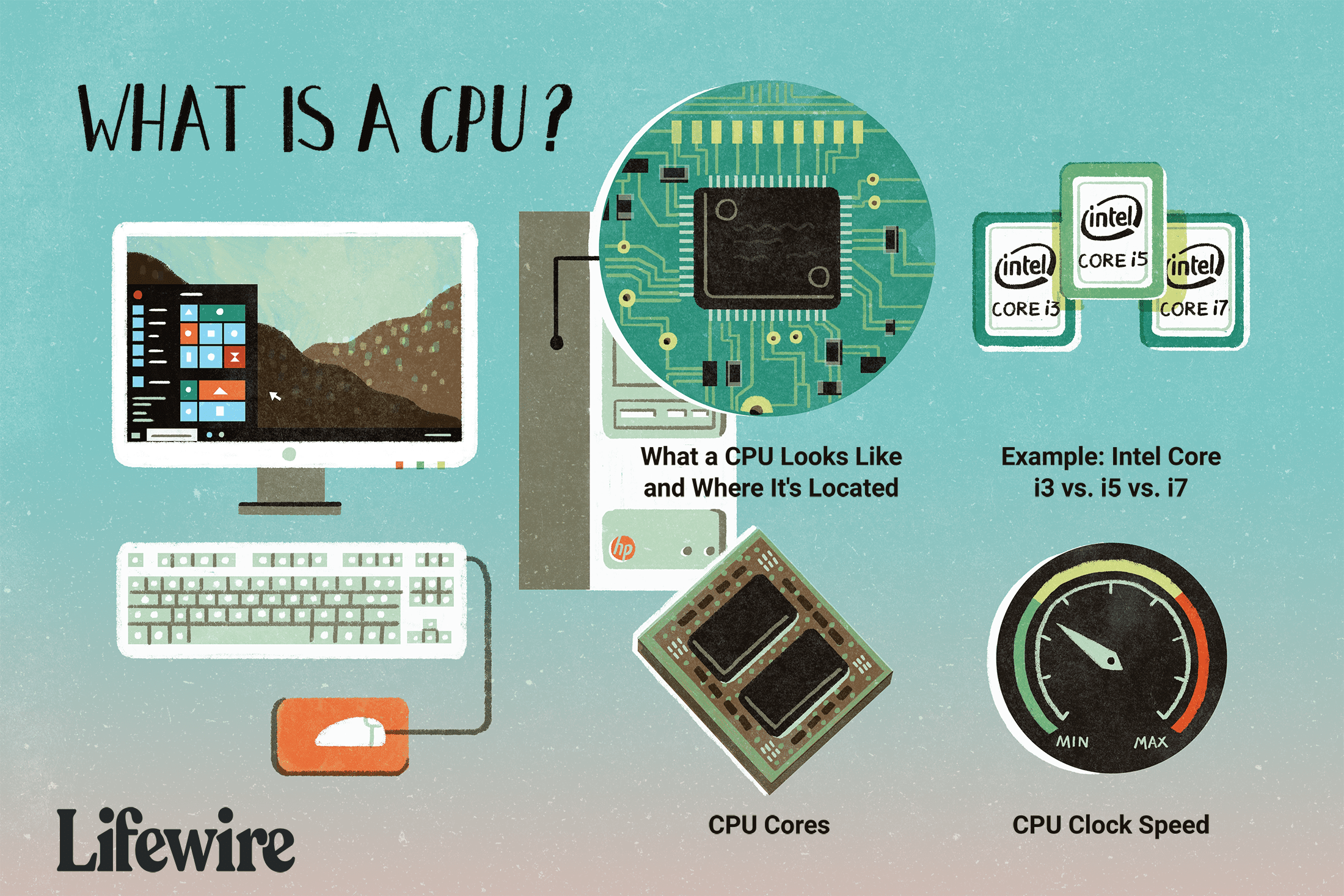 An illustration of what a CPU is, including where it's located, what it looks like, and examples.