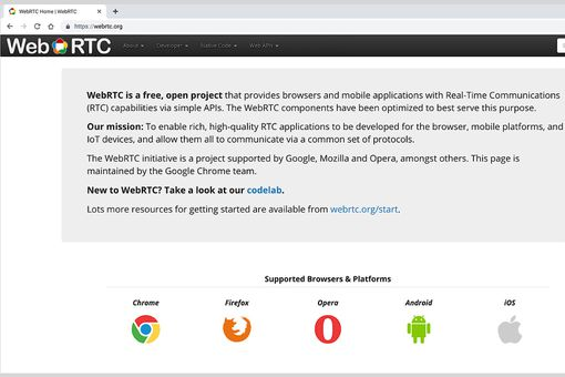 Screenshot of WebRTC.org home page, with a description of the project and icons of browsers (Chrome, Firefox, Opera, and Android + iOS)
