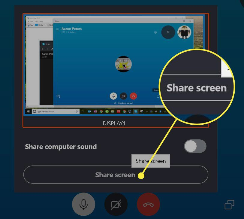 Skype's share preview screen with the Share Screen button highlighted