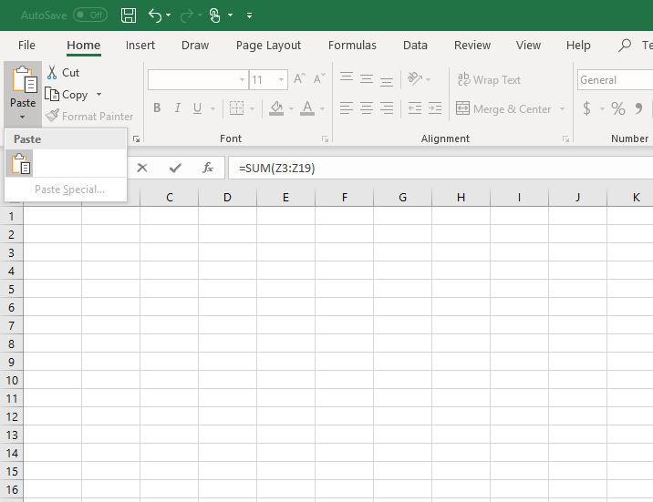 Copy and paste in Excel