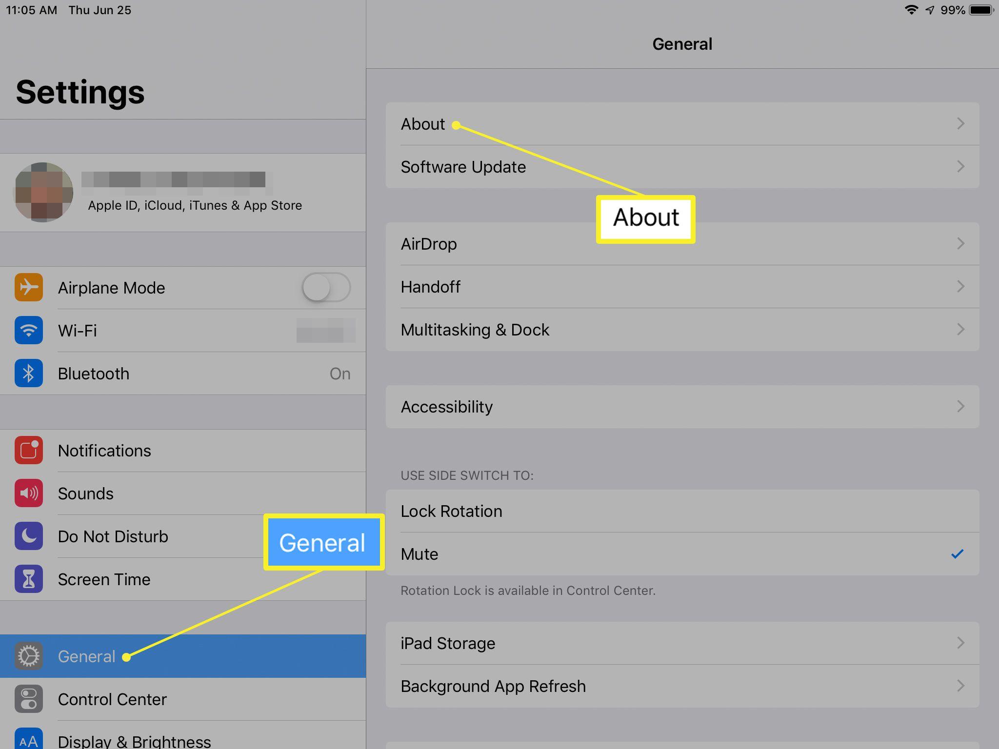 General settings screen on iPad