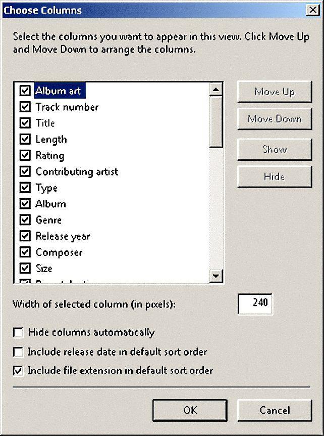 Windows Media Player Column Options