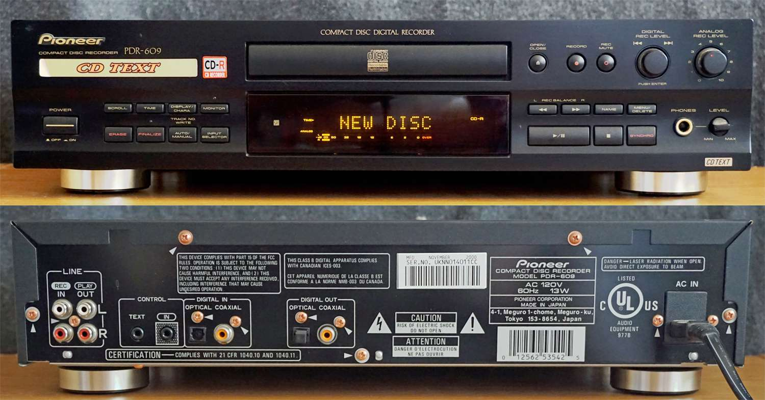 Pioneer PDR-609 CD Recorder – Front and Rear Views