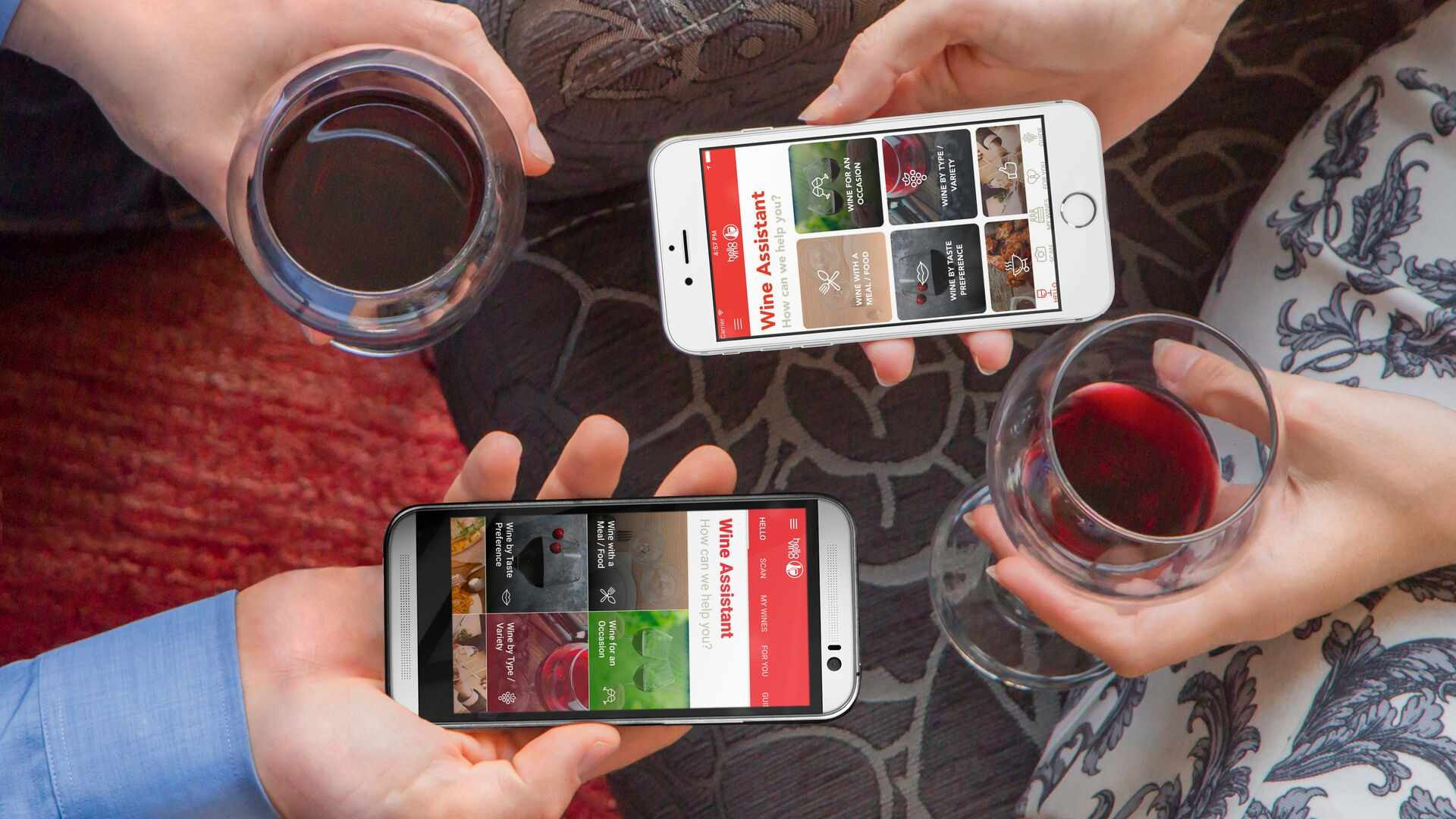 HelloVine wine app being used on an iPhone and Android smartphone.
