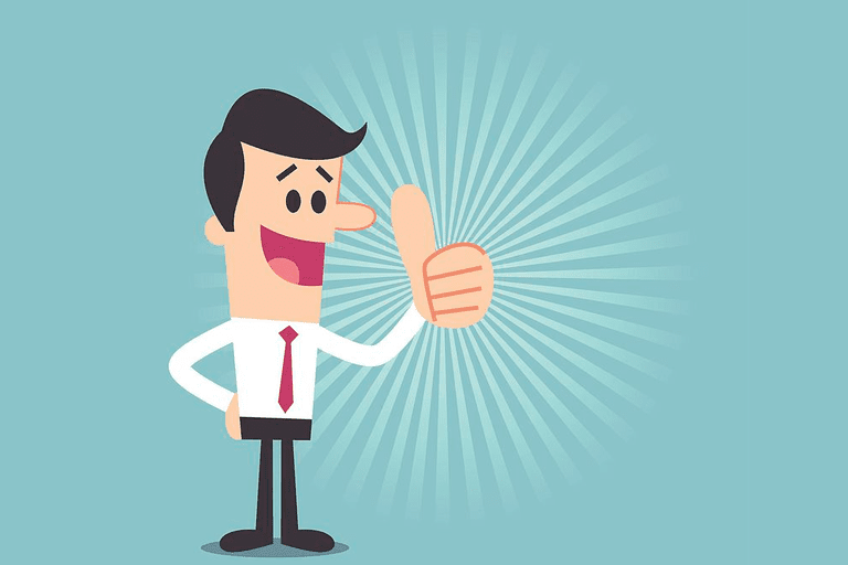 Cartoon image of a man with his thumb up