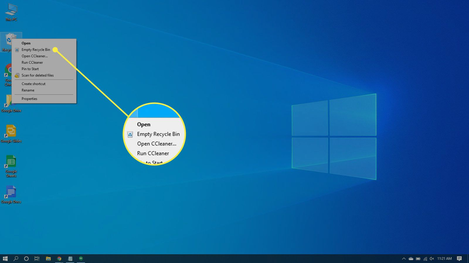 Selecting to empty the recycle bin in Windows 10.
