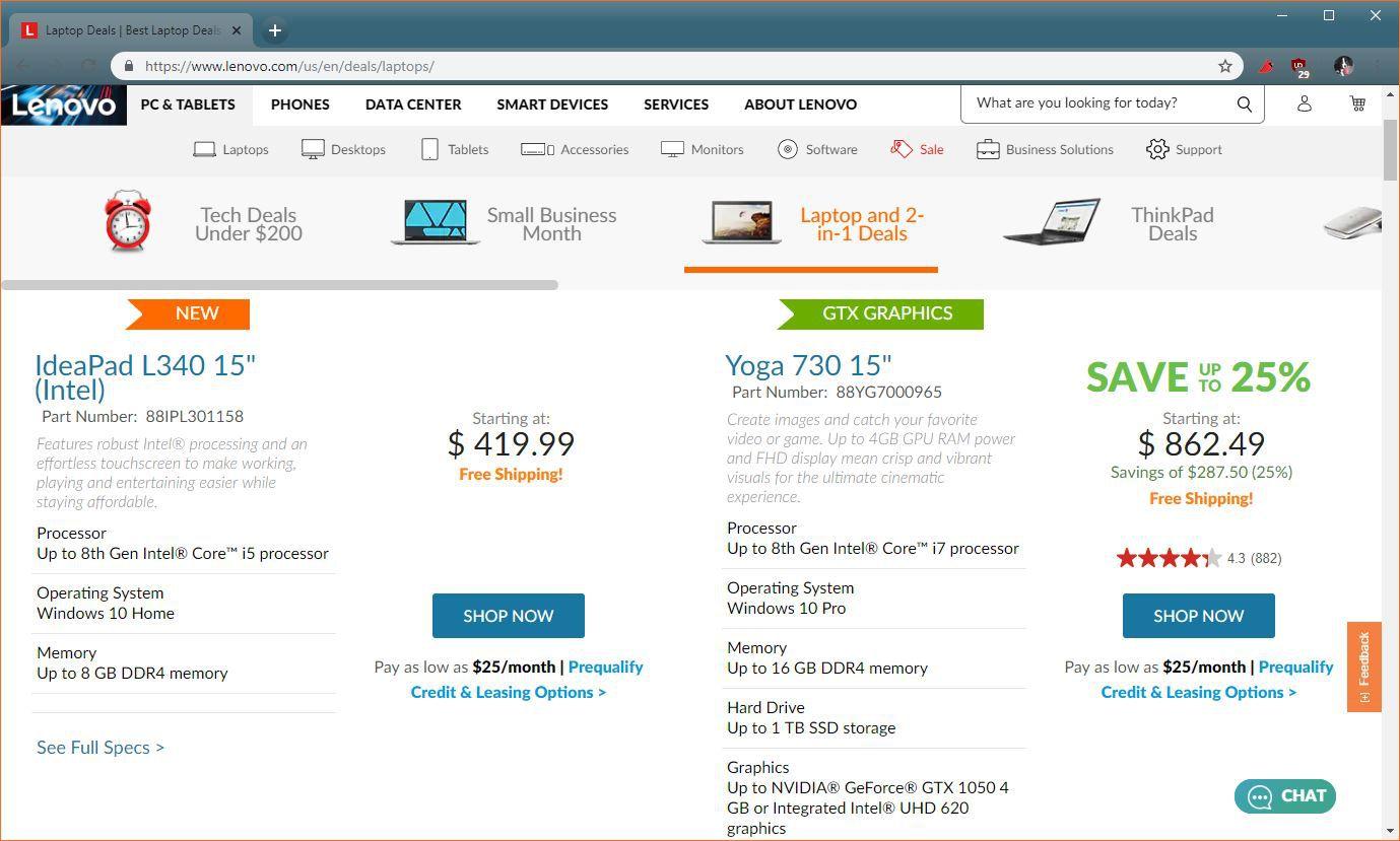 A screenshot of the Lenovo store.