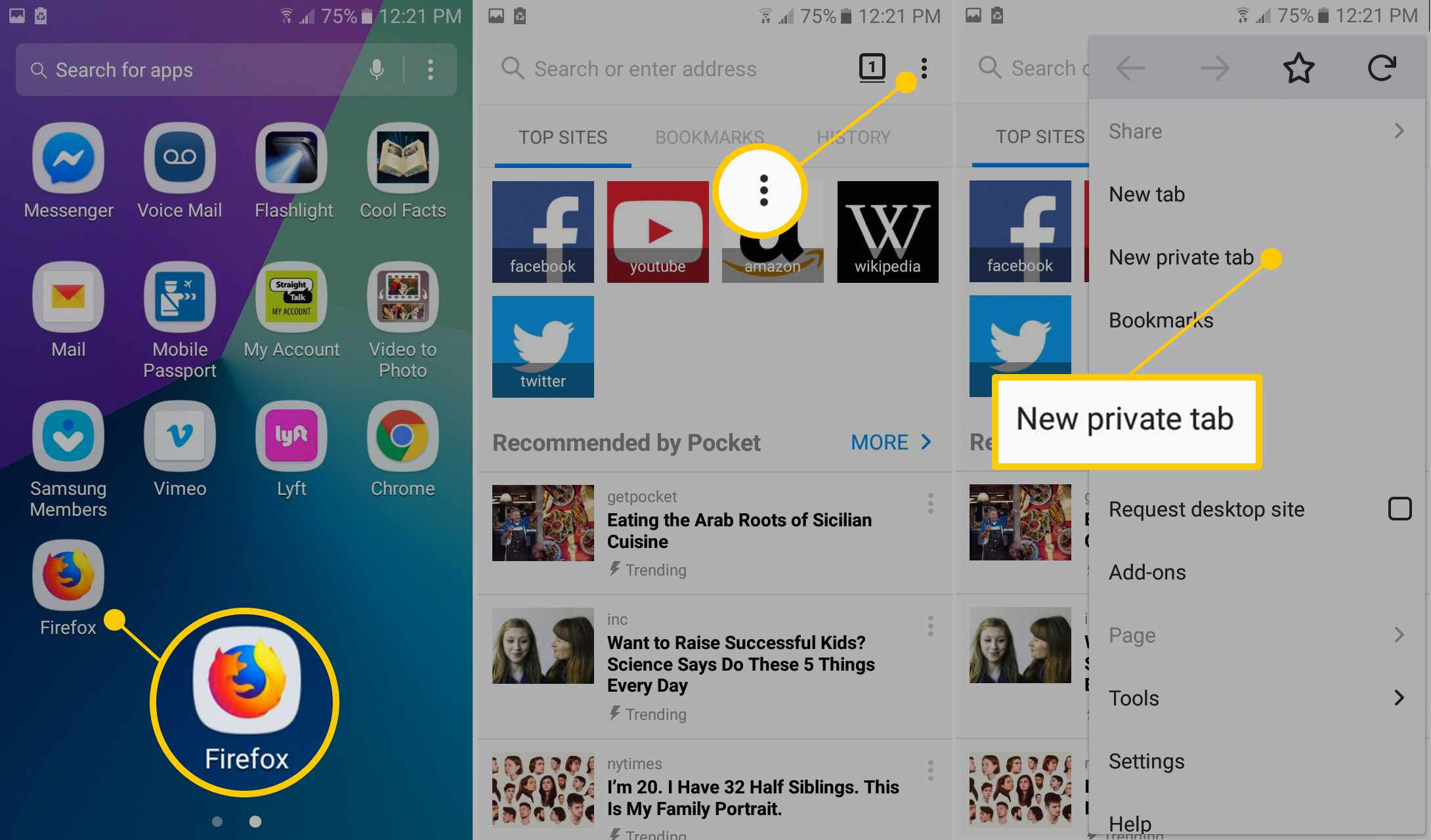 Firefox icon, dot menu, New private tab on Android