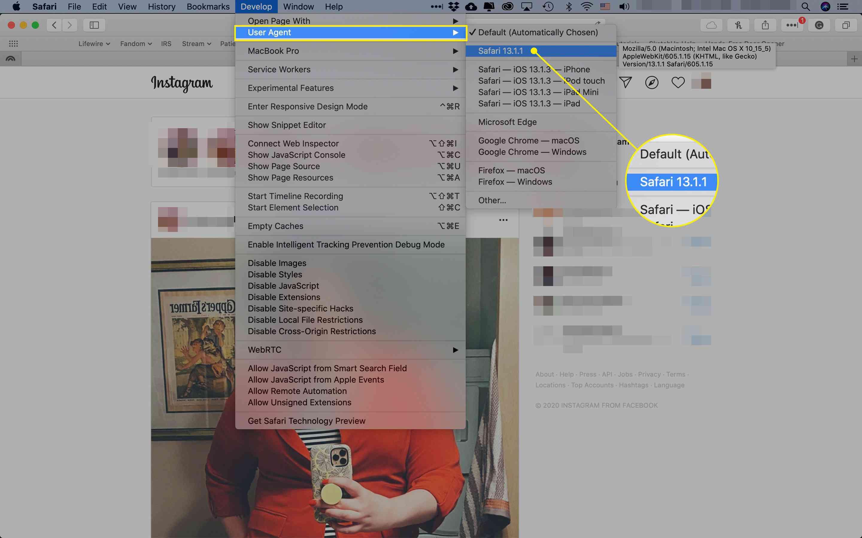 The User Agent menu in Safari