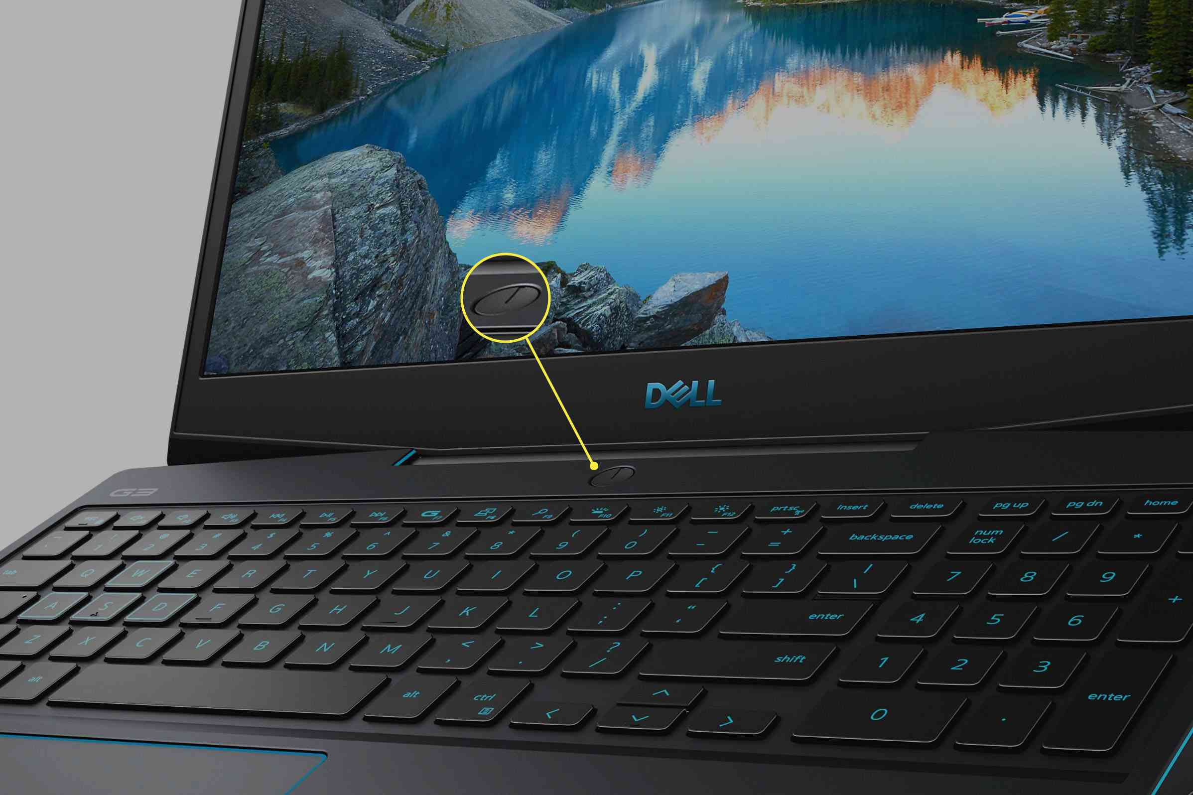 Dell G3 15 Gaming Laptop with power button highlighted.