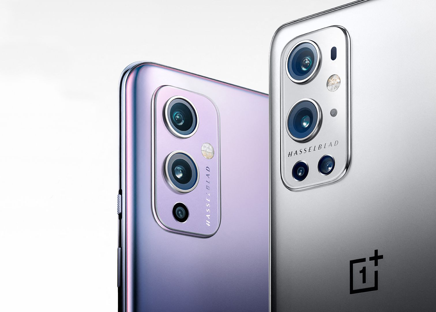 Closeup of the OnePlus 9 and the OnePlus 9 Pro.