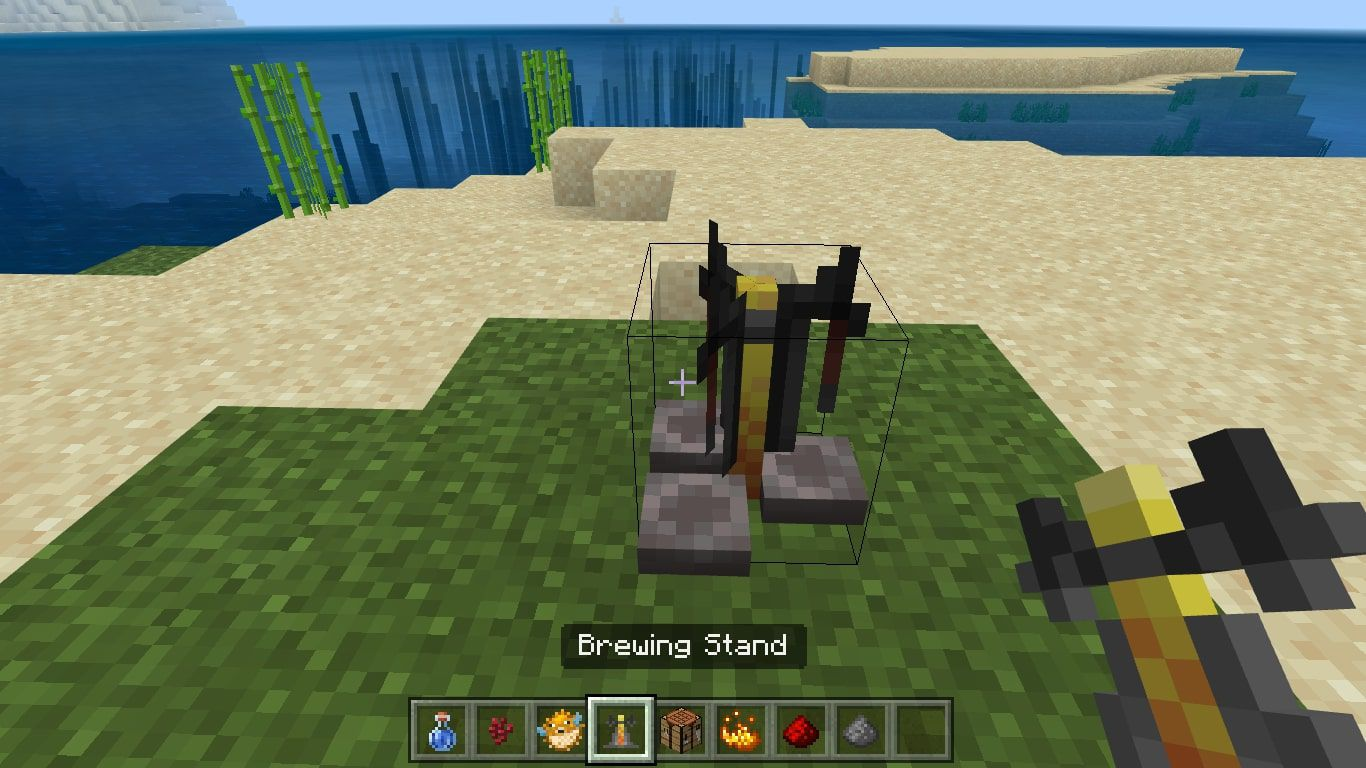 Place your Brewing Stand on the ground and use it to open the brewing menu.