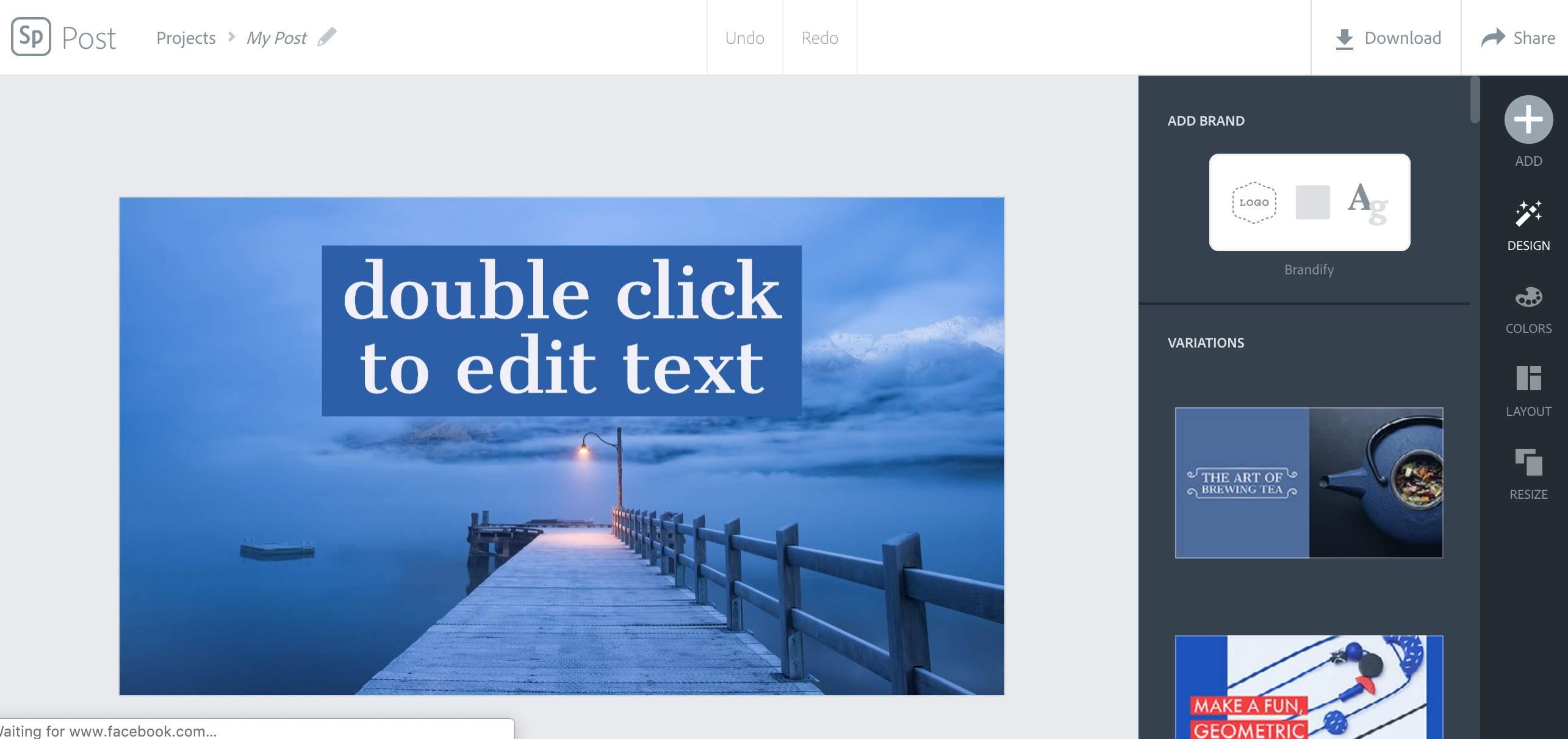 Adobe Spark website
