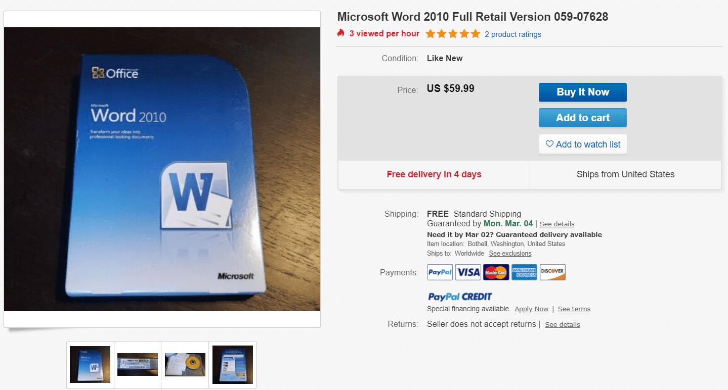 Screenshot of Microsoft Word 2010 for sale on eBay