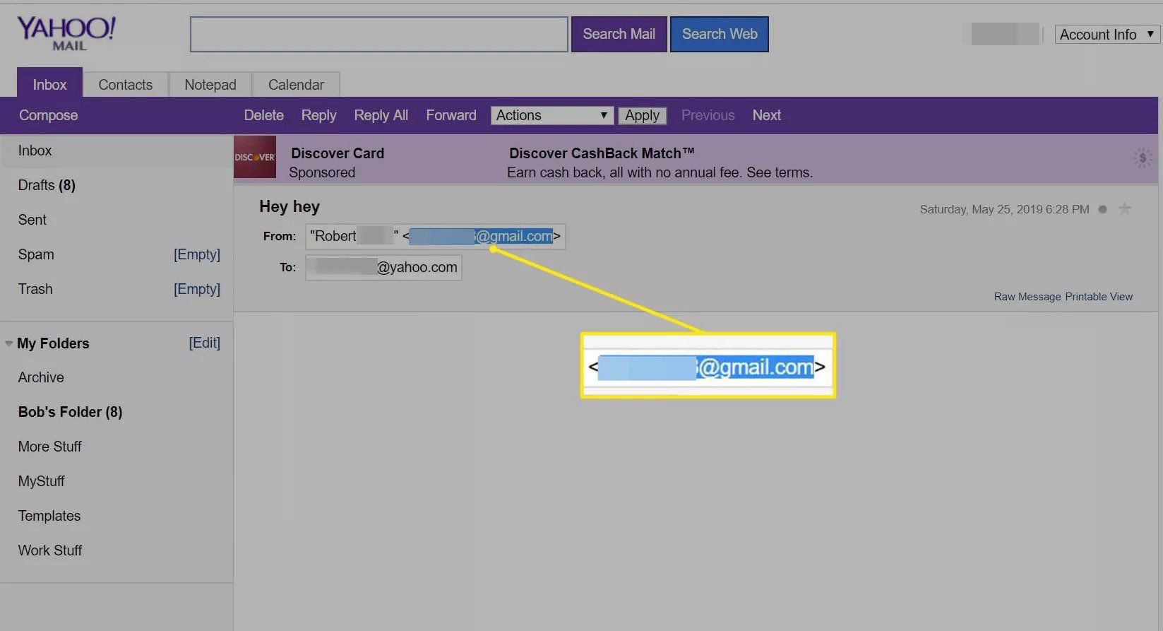 Selected email address in Yahoo Mail Basic