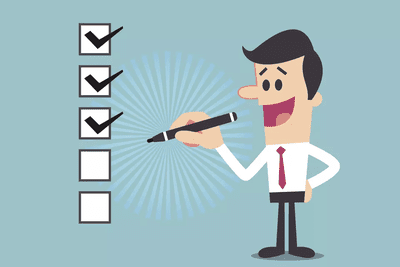 Illustration of a man checking off items in a list