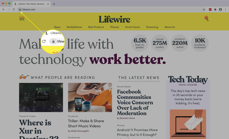 The site info icon in Chrome