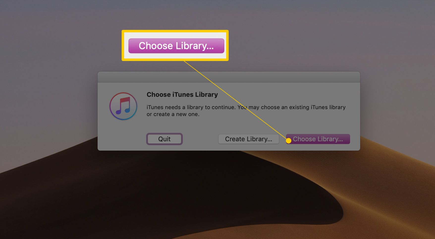 Choose Library... button in Choose iTunes Library dialog box