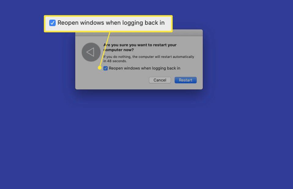 MacBook restart dialog box with