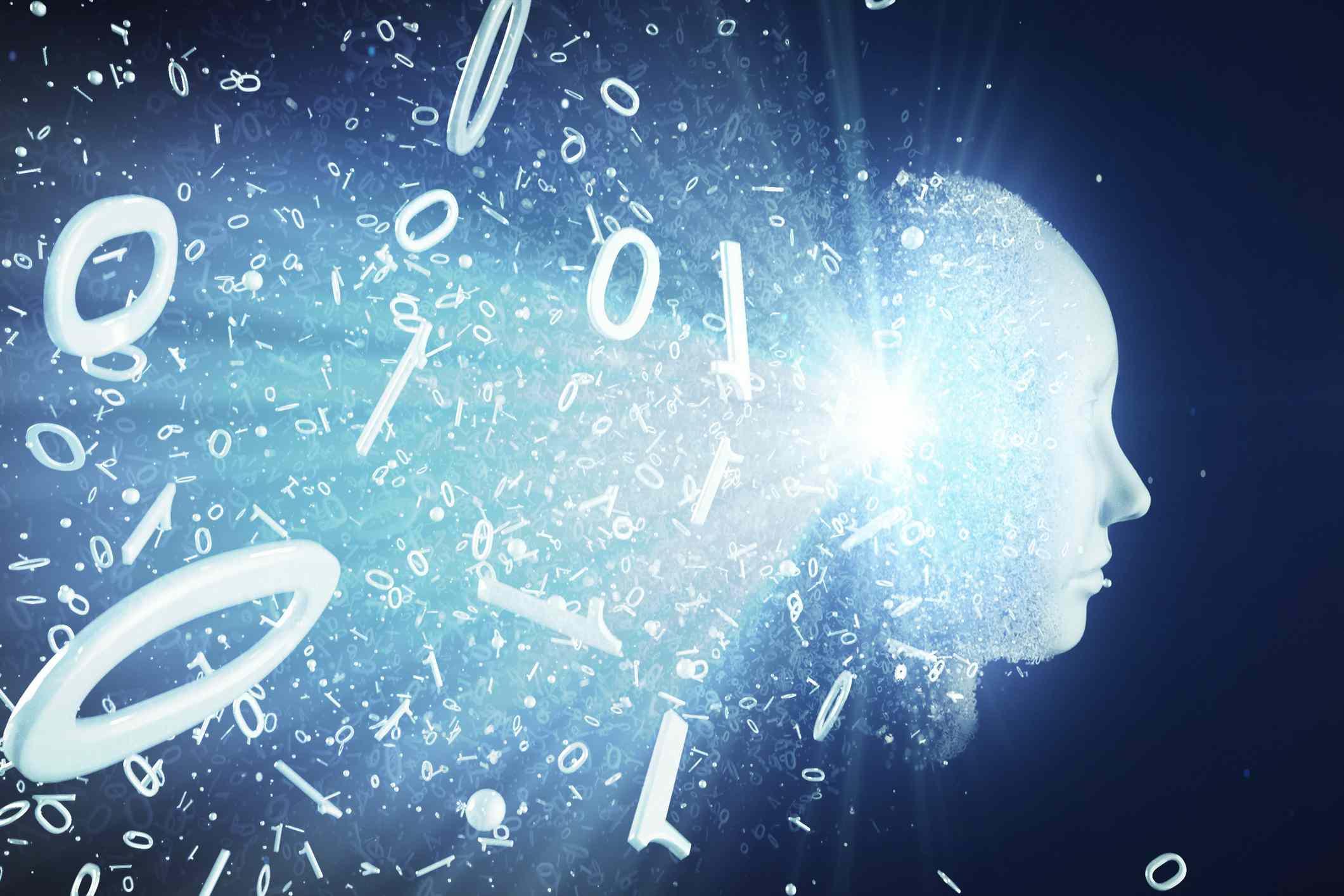 Conceptual image: Binary code transforming AI robot face.