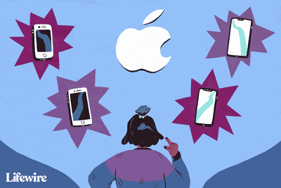 Person choosing from several Apple iPhone versions