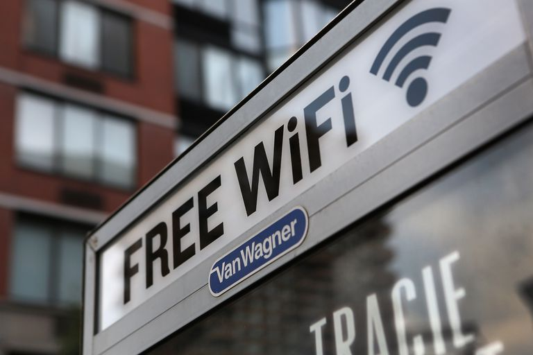 Sign in a public space advertising free WiFi