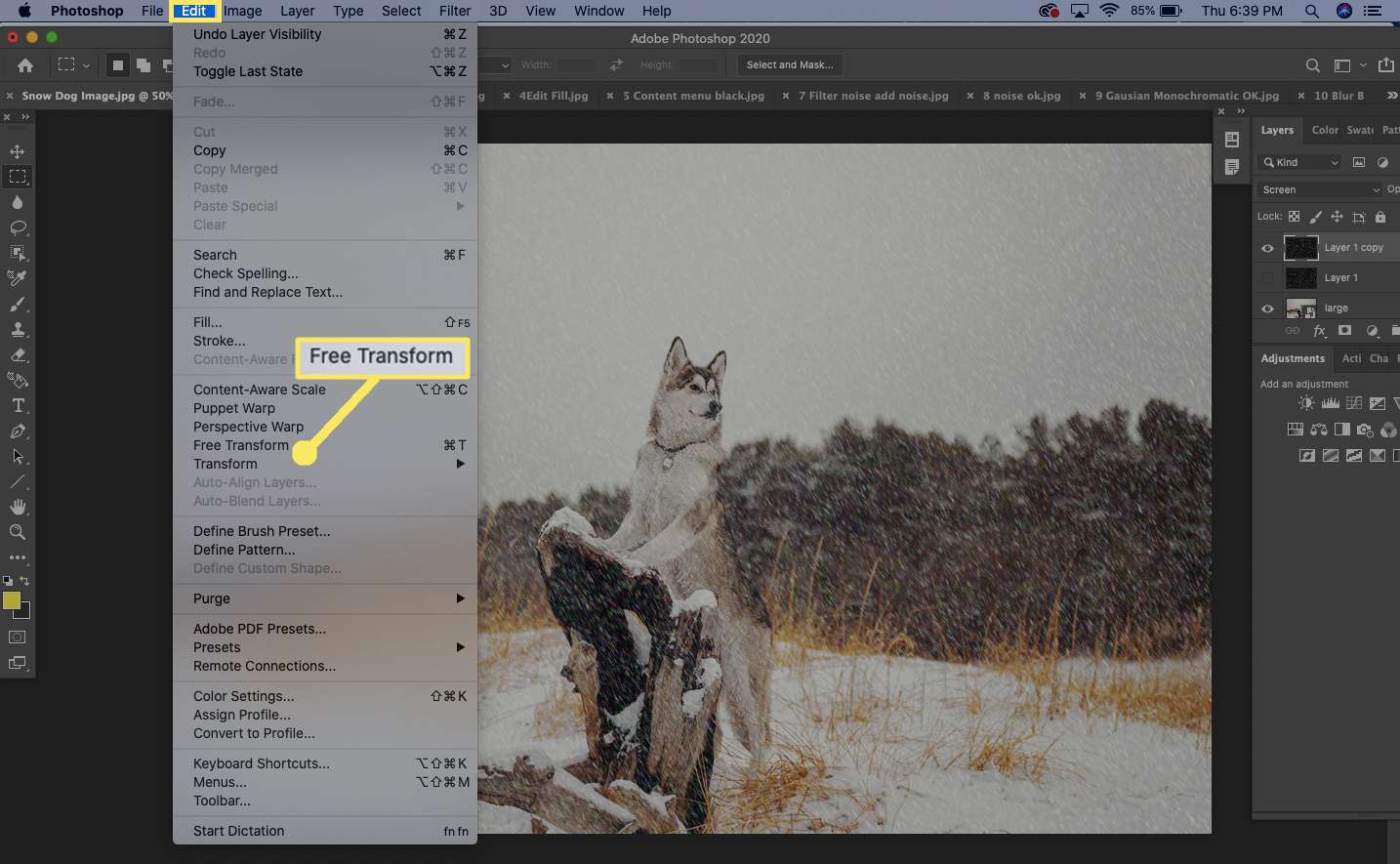 Select Edit > Free Transform.