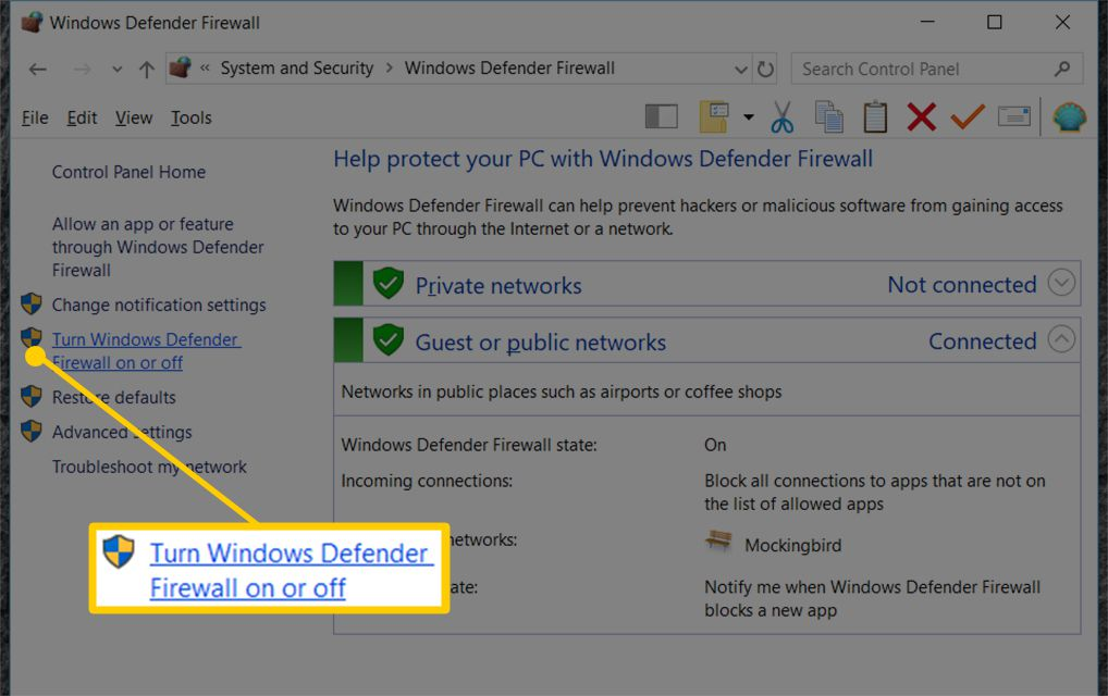 How to Disable the Windows Firewall in Windows