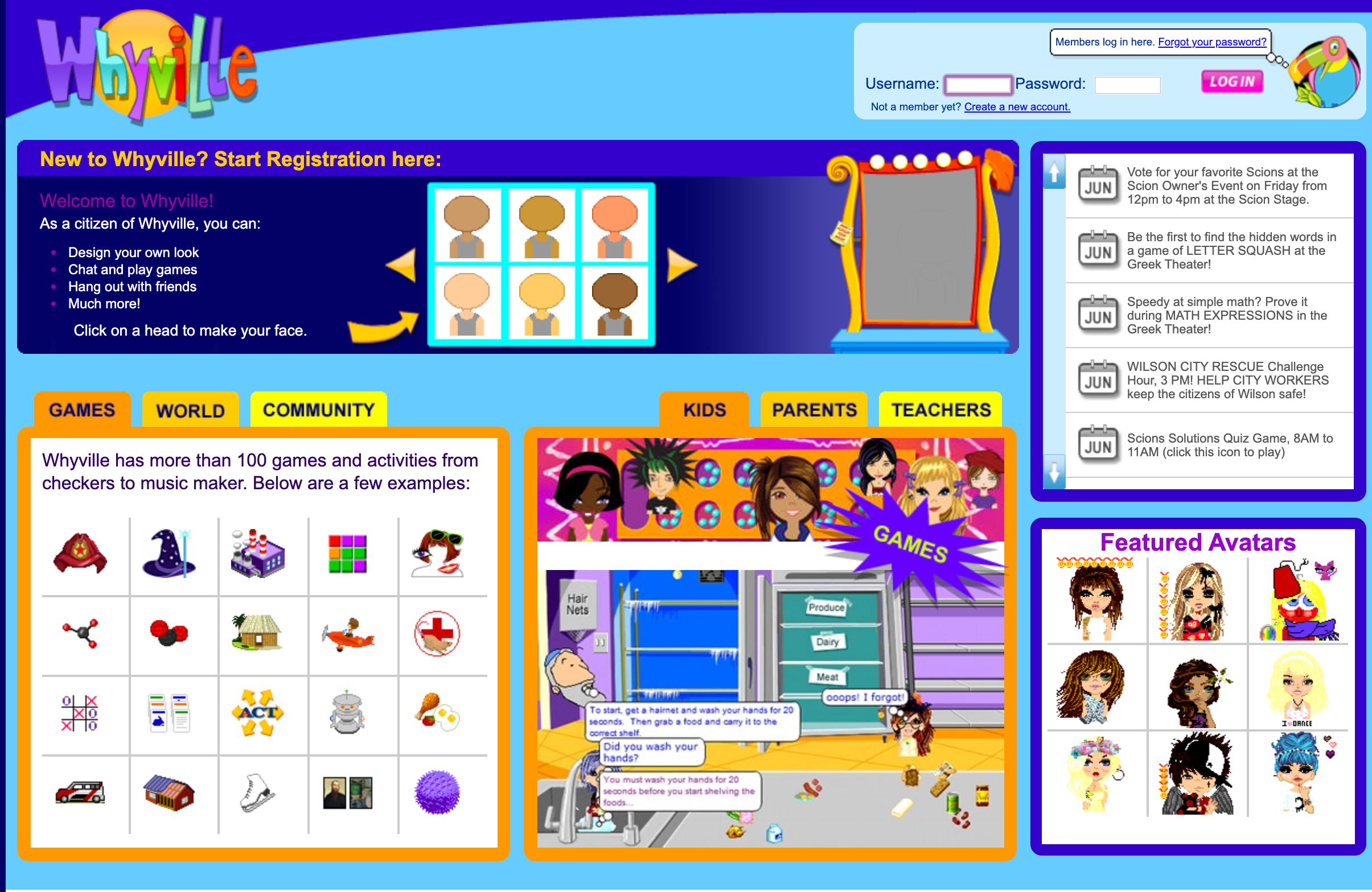 Screenshot of the Whyville website.