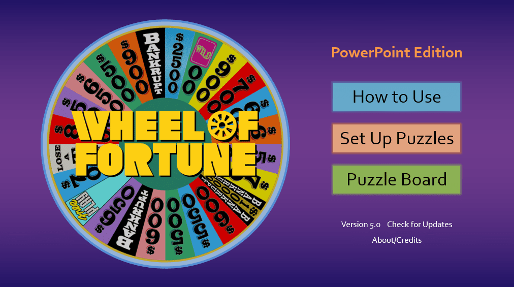 Realistic Wheel of Fortune PowerPoint Template opening screen