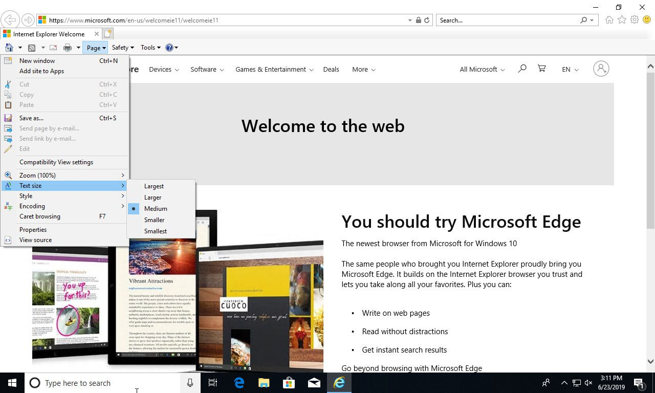 How to Modify Text Size In Internet Explorer