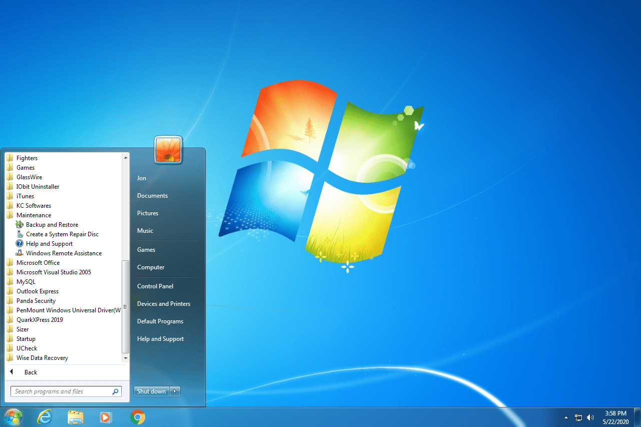 Windows 7 Start menu with the System Repair Disc option