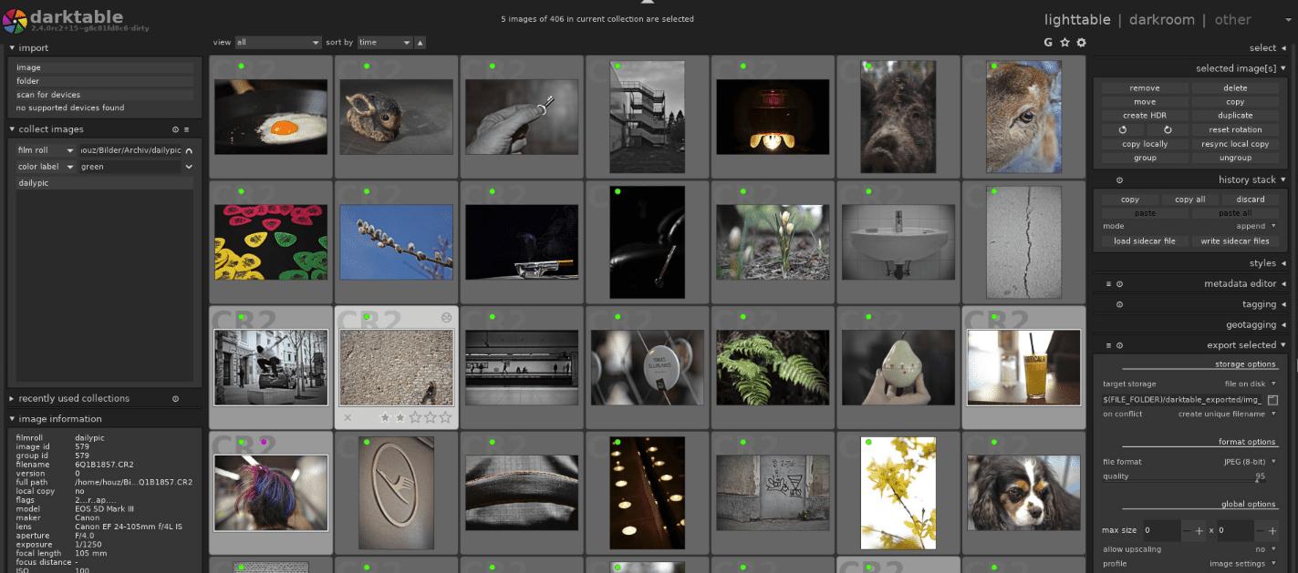 Screenshot of the Darktable interface.