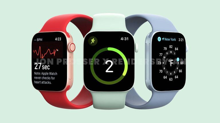 Apple Watch Series 7 renders in red, green, and blue
