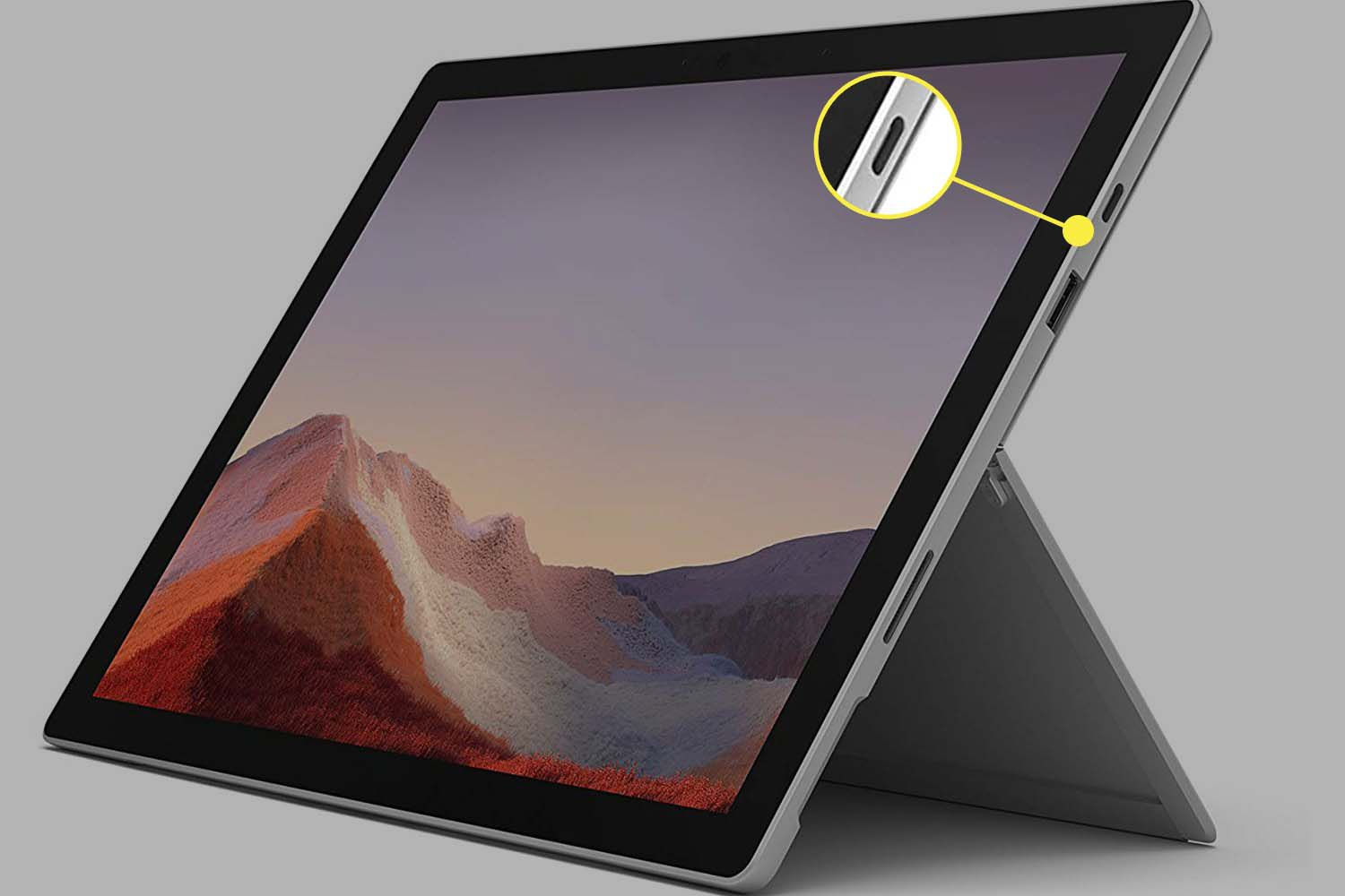The USB-C port on a Surface Pro 7.