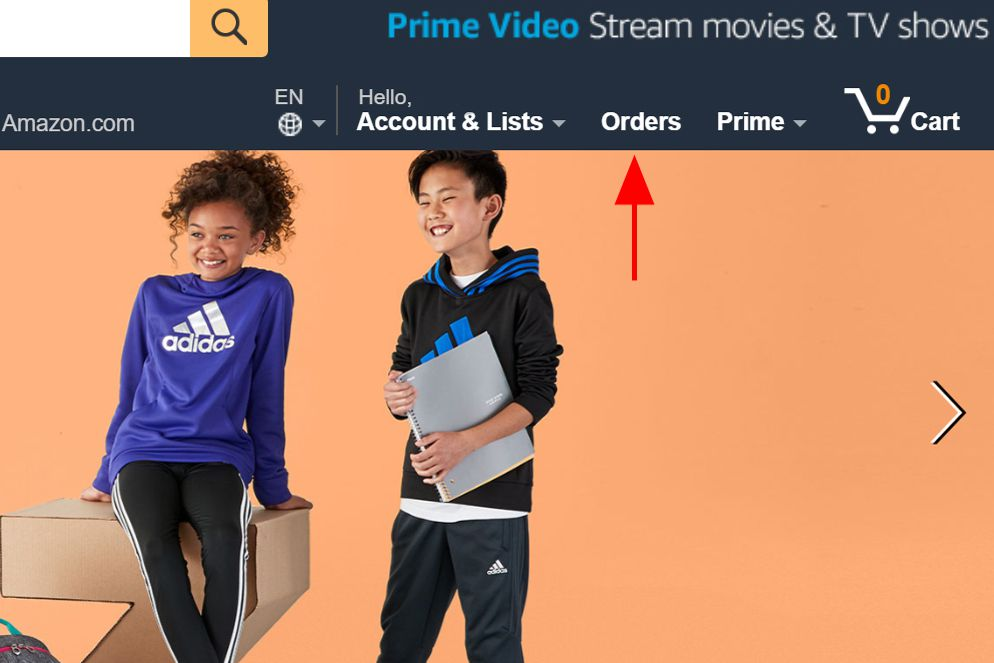 Orders button on the Amazon.com homepage