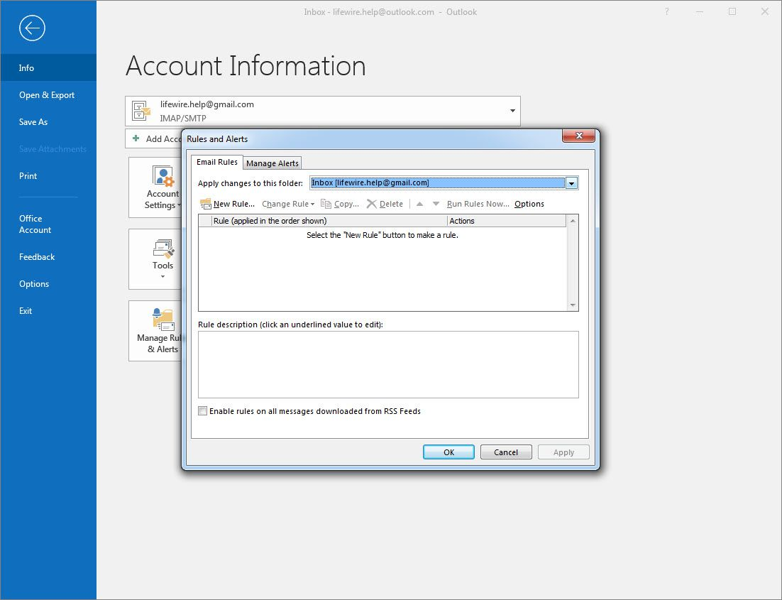 Outlook 2016 Email Rules tab selected