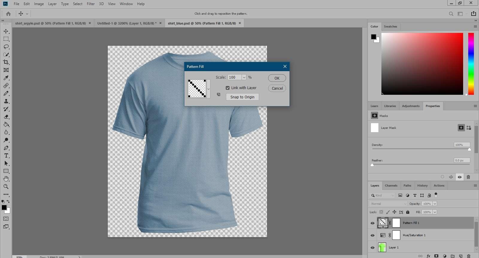 Applying the custom pattern in Photoshop.
