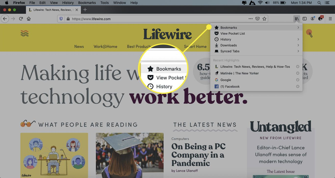 Bookmarks in Firefox