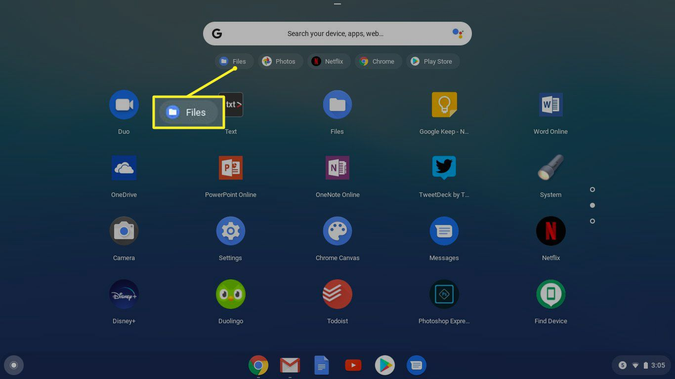 The Files button in the Chrome app launcher