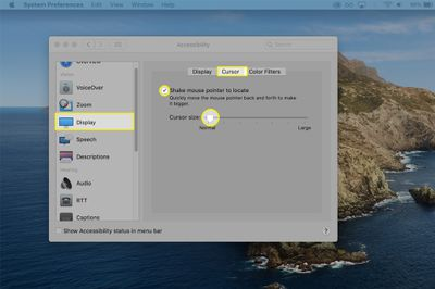 Cursor size options from the Accessibility settings on macOS.